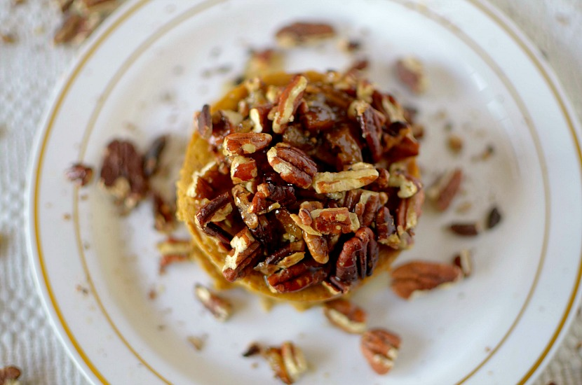 Healthy single serving paleo Flourless Pumpkin Sticky Bun made with in 2 minutes with only a few ingredients