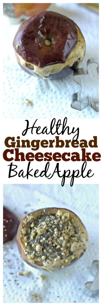 A healthy gingerbread spiced cheesecake baked apple! This makes for a delicious holiday-themed breakfast, snack or dessert!