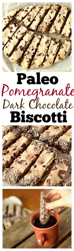 Looking for a healthy but tasty holiday cookie this season? Try these grain-free Pomegranate Dark Chocolate Biscotti with a paleo and vegan option!