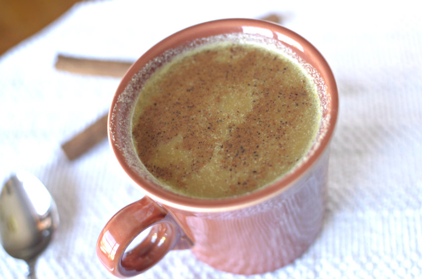 This Pumpkin Eggnog Latte is a delicious healthy seasonal flavored drink that is so easy-to-make and much cheaper than Starbucks!