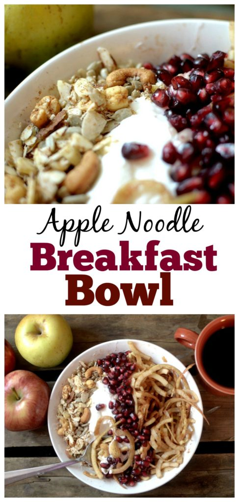 Have a spiralizer on hand? You need to make these apple noodles for breakfast! This Cinnamon Apple Noodle Breakfast Bowl with Candied Nuts is a delicious, healthy and nourishing breakfast that can is gluten-free, vegan, and paleo!