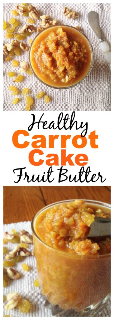 This Healthy Carrot Cake Fruit Butter is the perfect spread on pancakes, waffles, toast, yogurt, ice cream or whatever your heart desires!
