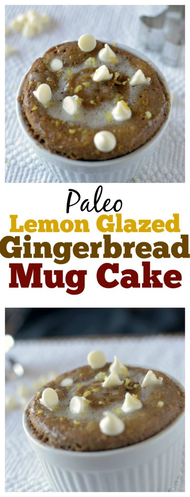 A moist Paleo Gingerbread Mug Cake studded with white chocolate chips and dried cranberries and topped off with a tangy lemon glaze all made in a matter of minutes!