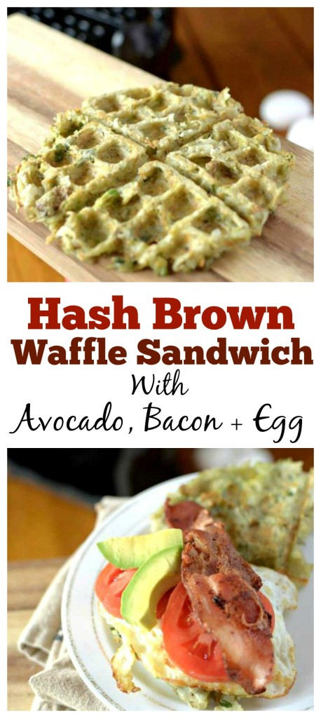 In a breakfast rut? Try this healthy Hash brown Waffle Egg Sandwich with Avocado! Its paleo-friendly, gluten-free and grain-free!
