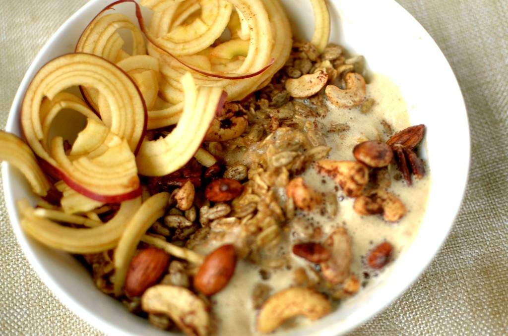 There is no better way to start your day off than with this hearty and delicious bowl of Frothy Chai Spiced Oatmeal with Apple noodles! Also Vegan and Gluten-free!