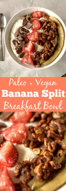 Take your breakfast to a whole new level with this healthy and delicious dessert-like Roasted Banana Split Breakfast Bowl! Can be vegan and paleo friendly!
