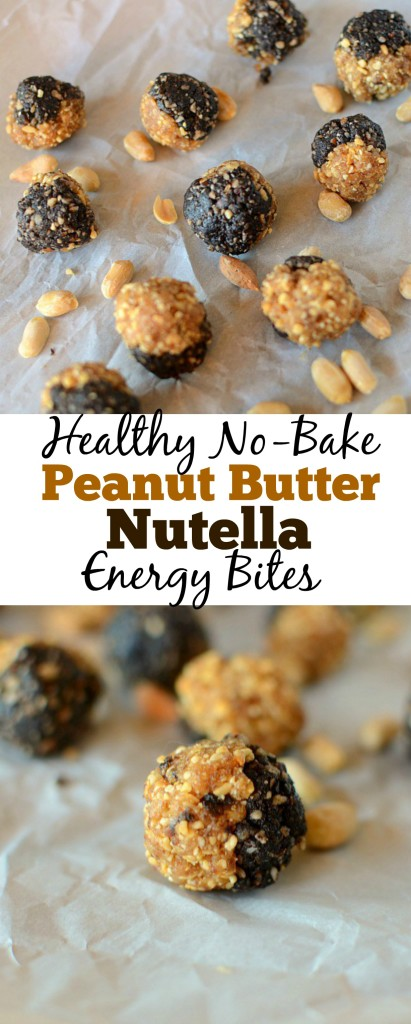 These Healthy No Bake Peanut Butter Nutella Energy Bites are made with only 4 ingredients, have no added sugar, easy to make and are the perfect snack. They are also gluten-free, vegan, and can be paleo.