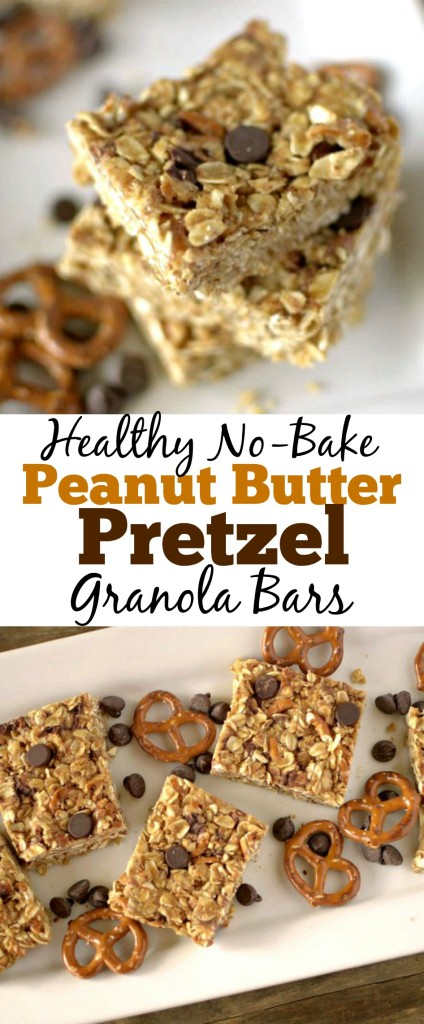 Healthy No Bake Peanut Butter Pretzel Granola Bars made with only 5 ingredients. GF, DF and Vegan Friendly!
