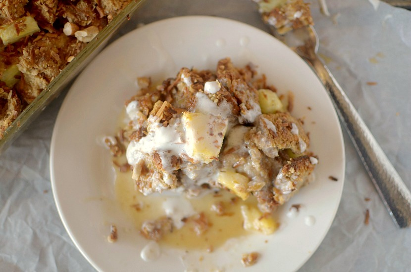 Toasted coconut cashew and pineapple french toast casserole 5