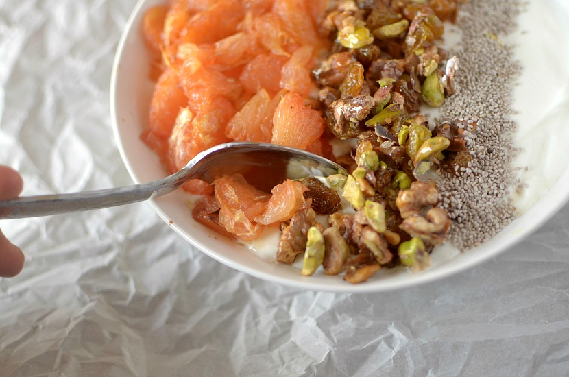 roasted grapefruit baklava breakfast bowl 4