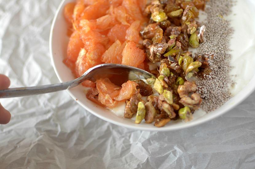 roasted grapefruit baklava breakfast bowl 4