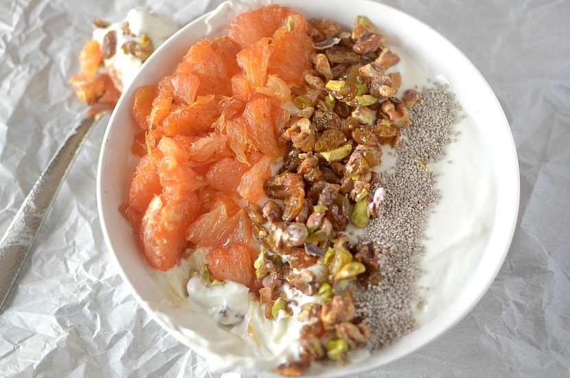 roasted grapefruit baklava breakfast bowl 5