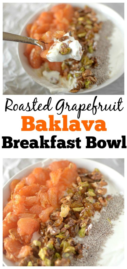 Looking for a flavorful and filling breakfast bowl? Try this Roasted Grapefruit Baklava Breakfast Bowl! Vegan & Paleo friendly!