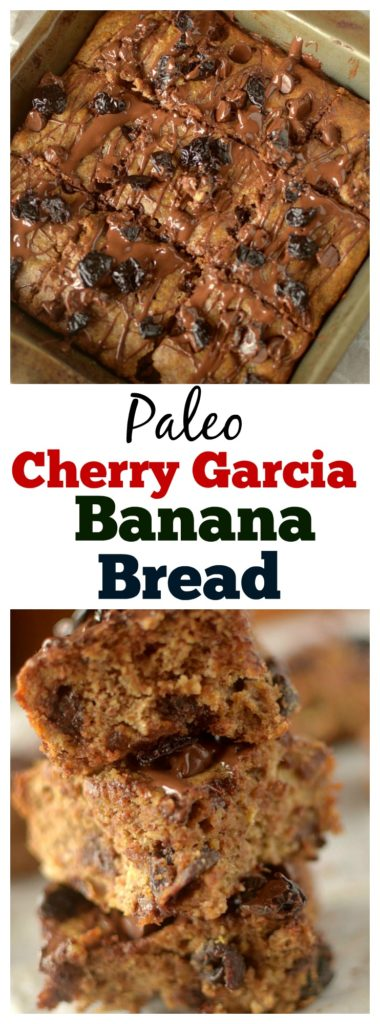 These Cherry Garcia Paleo Banana Bread Bars are a delicious and healthy combine the tasty chocolate and cherry ice cream flavor with classic banana bread! They are the perfect breakfast or snack and are gluten-free with a vegan option!