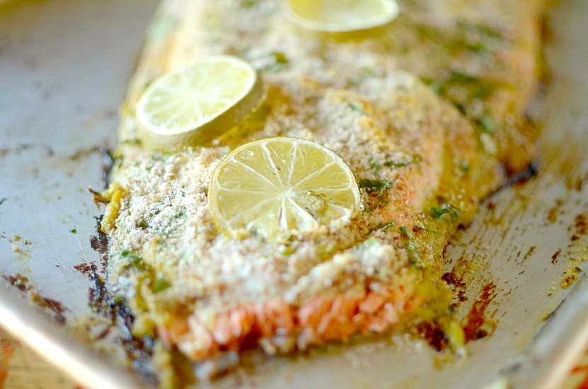 This Simple Almond Lime Cilantro Crusted Salmon is the perfect healthy, easy and delicious dinner made in 20 minutes! Also paleo and whole 30 approved!