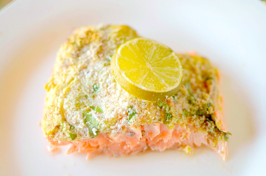 This Simple Almond Lime Cilantro Crusted Salmon is the perfect healthy, easy and delicious dinner made in only 20 minutes! Also paleo and whole 30 approved!