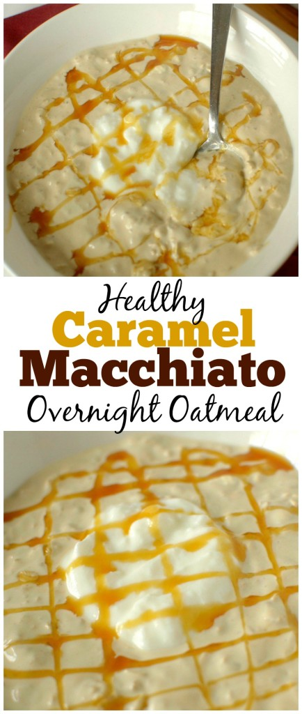 This healthy Caramel Macchiato Overnight Oatmeal tastes like your favorite coffee drink in breakfast form! It is made with only 4 ingredients, gluten-free and can be made vegan and dairy-free too!