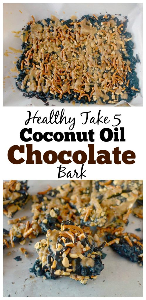 This guilt-free Take 5 Coconut Oil Chocolate Bark is a delicious vegan and gluten-free take on the popular candy bar. It's loaded with peanuts, chocolate, caramel, pretzels and peanut butter and you would never guess that it's healthy!