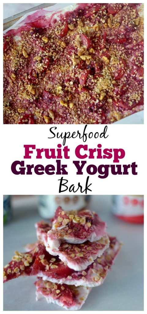 This Superfood Fruit Crisp Greek Yogurt Bark is a healthy, tasty and refreshing snack! It's loaded with protein from greek yogurt and naturally sweetened with fruit!