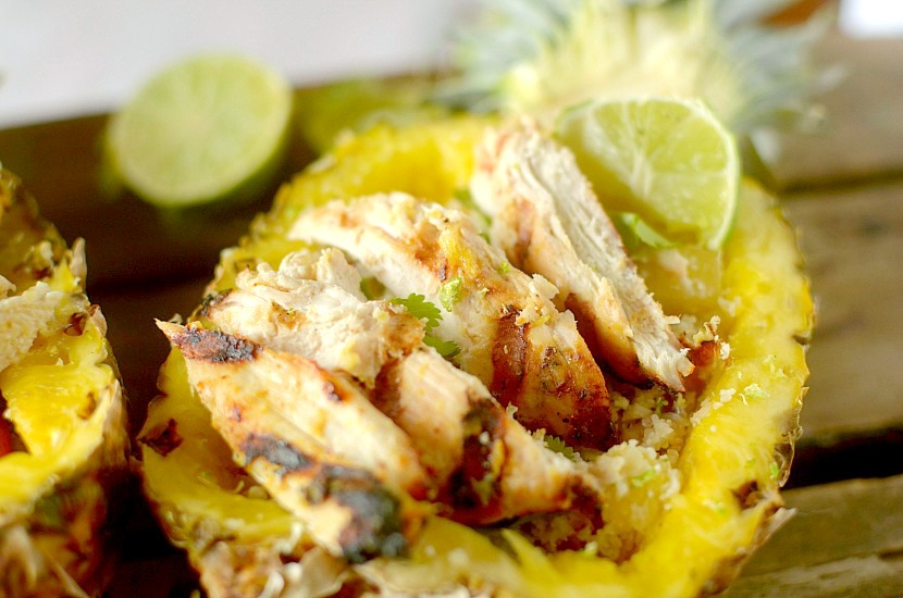 This Spicy Grilled Chicken Pineapple Buddha Bowl is a delicious and healthy dinner that is bursting with flavor! Also paleo and whole 30 approved!
