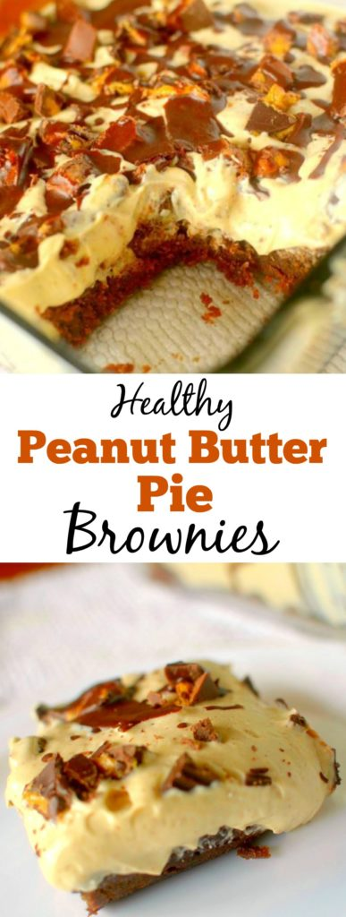 These Healthy Peanut Butter Pie Brownies combine two EPIC desserts into one guilt-free treat! Also gluten-free, dairy-free and has a vegan option!