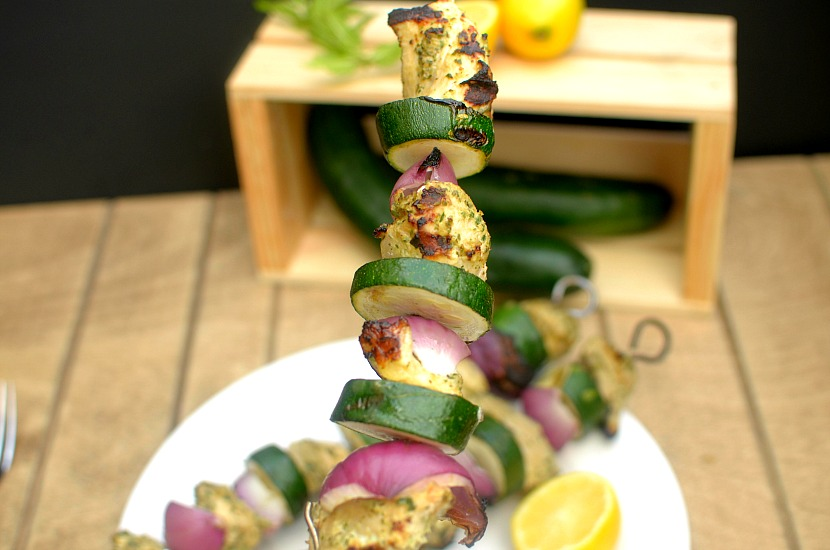 Looking for an easy grilling recipe that uses refreshing summer produce? Check out these Lemony Cucumber Mint Pesto Chicken Kebabs! Paleo and Whole-30!