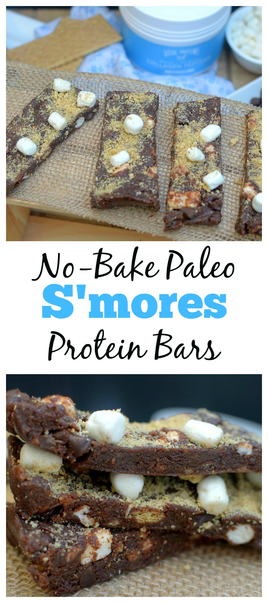 These No-Bake Paleo S'mores Protein Bars are a healthy, easy and delicious on-the-go snack! They only require a few ingredients and taste like S'MORES!