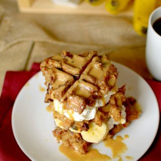 Have leftover bread that's going stale? Use it to make these Peanut Butter Banana Bread Pudding Waffles! They are incredibly easy to make and secretly healthy! Also vegan and gluten-free!