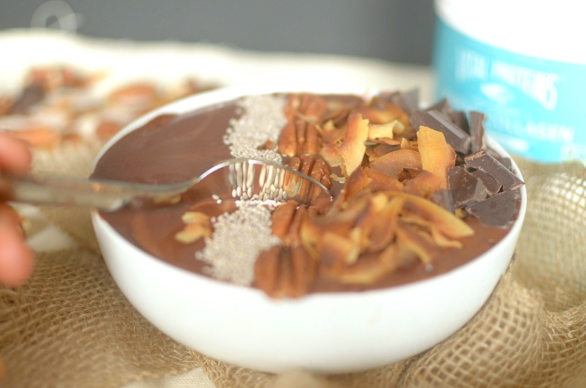Craving a sweet treat post-workout? Make this German Chocolate Cake Protein Smoothie Bowl! It tastes like dessert, but full of protein from collagen!