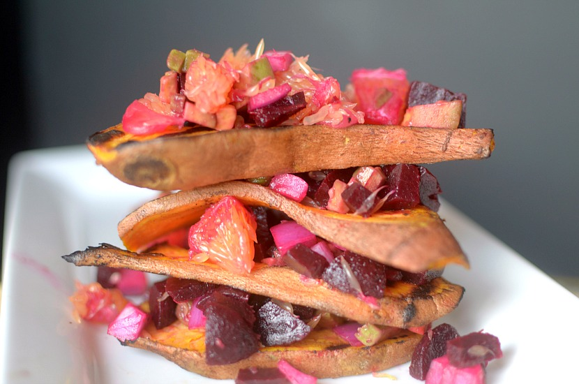 Love sweet potato toast? Make this grilled sweet potato toast and top it with Orange Beet Avocado Salsa! So flavorful and healthy! Vegan + Paleo}