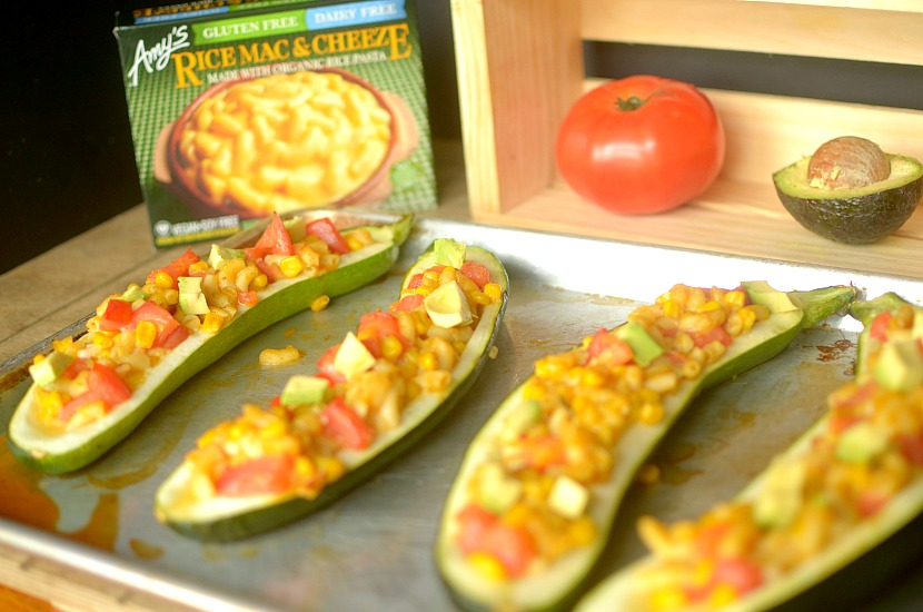 Southwest Mac & Cheeze Stuffed Zucchini is a delicious, hearty and kid-friendly dinner that will please kids and adults-alike! Also vegan and gluten-free!