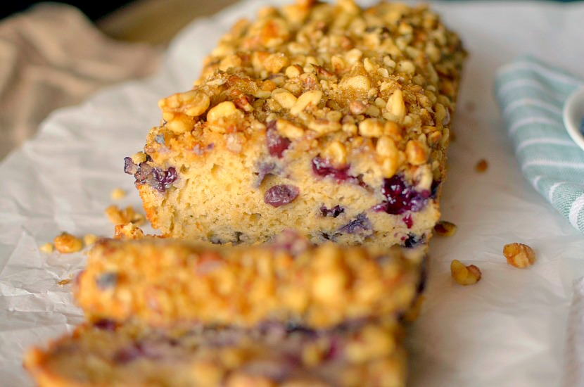 Healthy Blueberry Banana Bread made easy with a complete pancake mix! No butter, oil or refined sugar. Also gluten-free and vegan options!