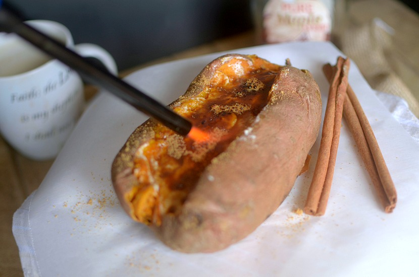 Love sweet potatoes? You'll swoon over this simple Cinnamon Roll Creme Brûlée Stuffed Sweet Potato! It doubles as a healthy breakfast and dessert!