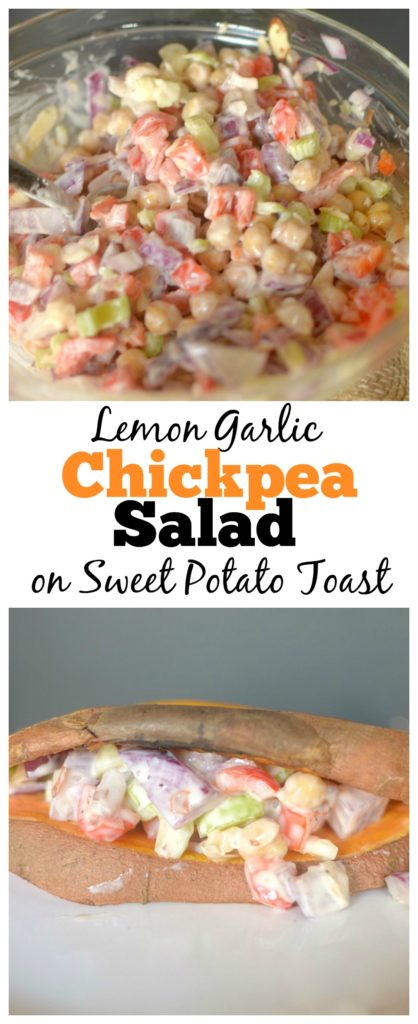 Looking for an easy vegetarian lunch? Try this simple+ satisfying Creamy Lemon Garlic Chickpea Salad! Spoon on top of Sweet Potato Toast for the ultimate healthy sandwich!