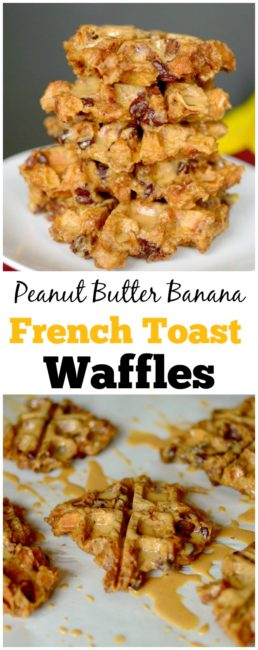 Have leftover bread that's going stale? Use it to make these Peanut Butter Banana French Toast Waffles! They are incredibly easy to make and secretly healthy! vegan + gluten-free!