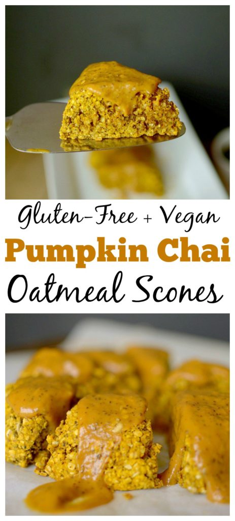 Looking for healthier scones? Make these Vegan Glazed Oatmeal Chai Pumpkin Scones! They taste like fall, but without the gluten and refined sugar!