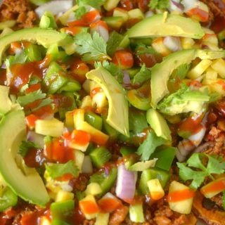 Hawaiian BBQ Sweet Potato Nachos are a healthy and hearty version of the classic that are perfect for an appetizer, lunch or light dinner!