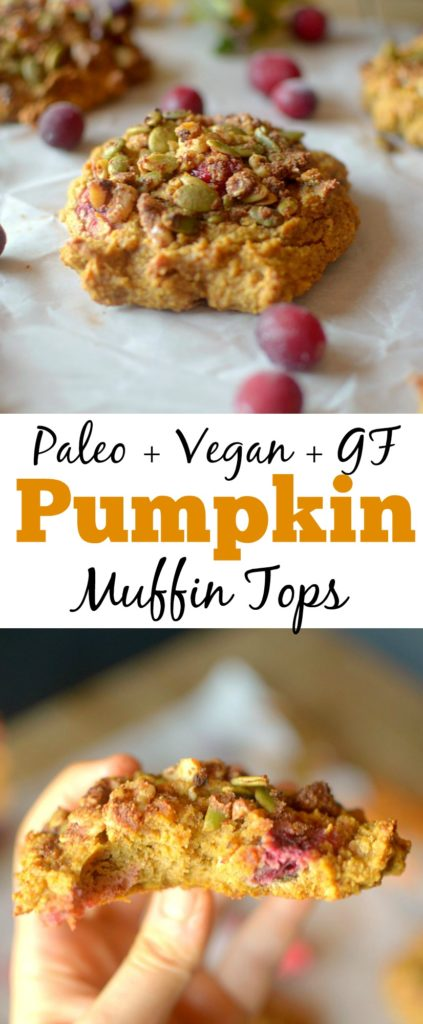 Paleo Cranberry Pumpkin Muffin Tops, because why waste the bottom when you can just eat the best part? So easy-to-make and are the perfect on-the-go breakfast or snack made with REAL ingredients! Also gluten-free with a vegan option!