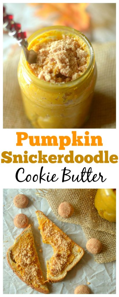 Soft-baked snickerdoodle cookies are blended with cashew butter and pumpkin to create an epic fall-inspired healthy cookie butter! Gluten-free and vegan!