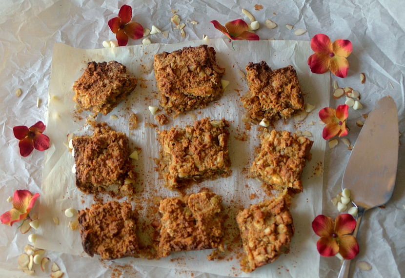 Flourless Cinnamon Toffee Blondies are so gooey and delicious! Would never know that they are good for you! Also gluten-free, vegan and paleo!!