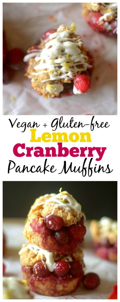 Healthy Lemon Cranberry Peek-A-Boo Pancake Muffins are bursting with juicy cranberries and drizzled with white chocolate, for a simple recipe made easy with pancake mix! Also gluten-free and vegan options!