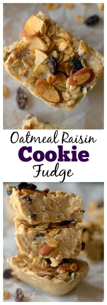 Looking for a healthier crowd-pleasing dessert? Oatmeal Raisin Cookie Fudge is a unique take on two favorites, but is secretly guilt-free! Vegan + Gluten-free!
