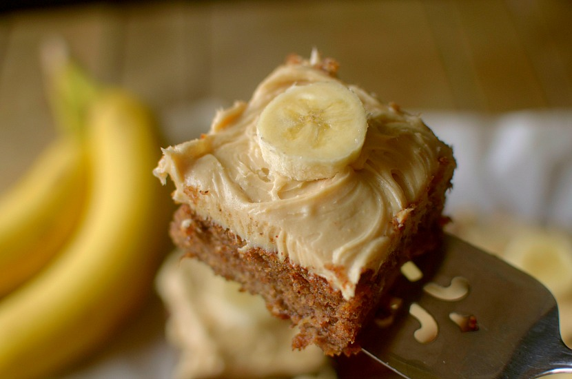 Flourless Gluten-Free Banana Cake is fluffy and moist made with only 5 real ingredients and topped with a peanut butter frosting! You would never believe it's healthy! Can be paleo and vegan too!