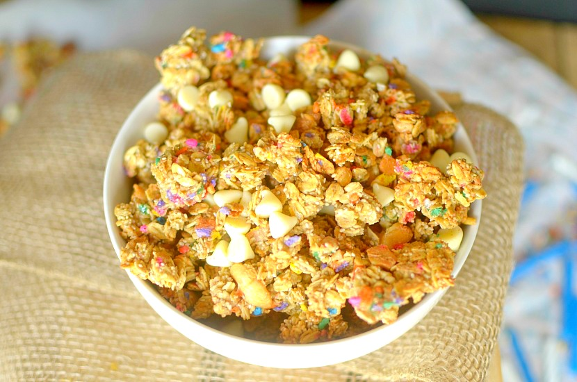 Now you can eat breakfast like it's your birthday every day with this Birthday Cake Granola! You won't guess it's healthy! Also gluten-free and vegan!