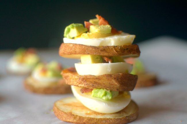 Cobb Potato Sliders are the perfect Whole30 appetizer and are also paleo approved! So easy and made with only 4 real ingredients! Everyone will LOVE these!