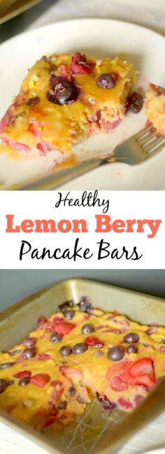 Lemon Berry Pancake Bars are an easy, healthy and delicious portable breakfast with only a few real ingredients! Also with a vegan and gluten-free option!