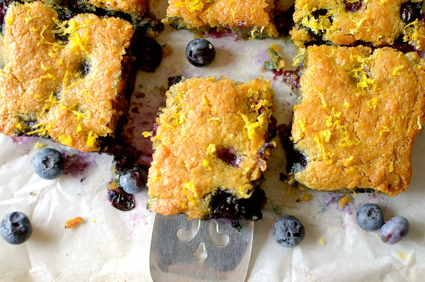 Flourless Lemon Blueberry Macadamia Blondies are so gooey and delicious! You would never know that they are good for you! Also gluten-free, paleo with a vegan option!