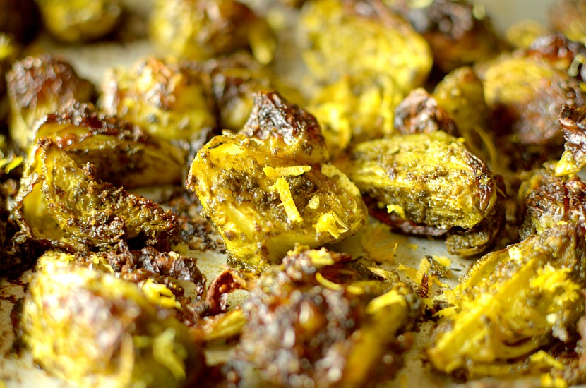 become addicted to these Crispy Lemon Pesto Roasted Brussels Sprouts ...
