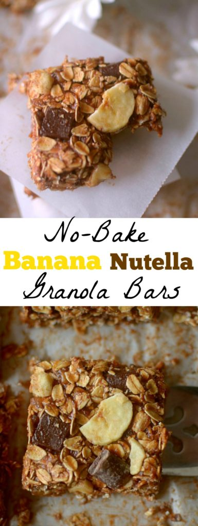These No-Bake Nutella Banana Granola bars are the perfect on the go-snack for your busy day! Made simple with only a few ingredients + gluten-free and vegan-friendly!