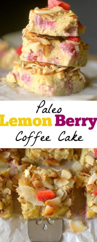Light & fluffy Paleo Lemon Berry Coffee Cake is studded with juicy berries and topped with an almond-coconut streusel! It's the perfect healthy breakfast! Also Gluten-free, grain-free and dairy-free!